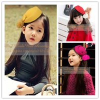 Wholesale Toppers Hats Wholesale - MisS Linda fashion Children cute hat women topper Woolen Rabbit Fur hairpin hair clips Girls Cocktail bridal beret hair accessories 5Pcs lot