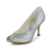 Wholesale Kitten Heel Evening Shoes Silver - Glitter Upper Women Wedding Shoes evening shoes in Silver Color High Heel Bridal Shoes Party Prom Women Shoes bridal shoes Size 35-42