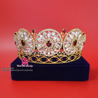 Wholesale Bridal Rhinestone Tiara Gold - Rhinestone Colour Siam Red Crowns Tiaras Crystal Pageant Bridal Wedding Queen Princess Party Prom Night Clup Show Headdress Hair Mo153