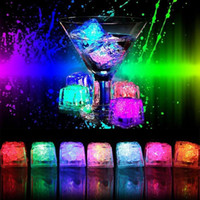 Wholesale liquid leading - Led Lights Polychrome Flash Ice Liquid Sensor Glowing Ice Cube Submersible Lights Decor Light Up Bar Club Wedding Party