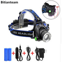 Wholesale Xml T6 Led Headlamp - Bitianteam Powerful CREE XML T6 headlights headlamp Zoom waterproof 18650 rechargeable battery Led Head Lamp Bicycle Camping Hiking Light