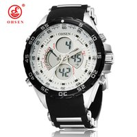 Wholesale Red Ohsen - 2017 Relogio Masculino OHSEN Digital Quartz LED Wristwatch Men Male 50M Water Resistant Silicone Band White Dial Fashion Watch Hombre Gift