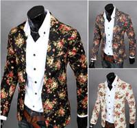 Wholesale Shiny Black Suit - Personalize Floral Blazers For Men Lapel Neck Slim Single Button Men Shiny Suit Blazer Cotton Casual Party Men Suits J160438