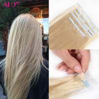 Wholesale Taped Wefts Hair Extensions - Tape In Human Hair Extensions Color #18 #22 #24 #60 #613 Brazilian Peruvian Indian Malaysian Skin Wefts Remy Hair 20pcs lot 40g lot