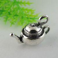 Wholesale teapot charms resale online - 10X Vintage Style Tibatan Silver Tone Teapot Charms Pendant DIY mm jewelry making
