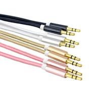 ingrosso lega d'oro lega-cavo aux cavo da 3,5 mm maschio a maschio cavo audio aux 1 m lega di alluminio placcato oro spina filo di nylon per auto / cuffie / mp4 3