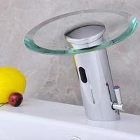 hotel de ingeniera automtica sensor cascada grifo caliente y fra mezclador grifo de lavabo de vidrio