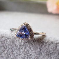 Wholesale Tanzanite Solitaire Ring - 2016 new brand fashion rings for woman 100% natural trangle Tanzanite Vintage ring jewelry gift for proposal ring wedding ring