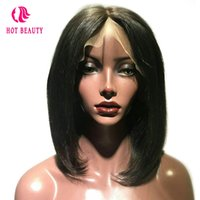Wholesale Virgin Hot Full - Hot Beauty Brazilian Peruvian Straight Virgin Hair Lace Front Wig Full and Soft Natural Color Pre Plucked Human Hair Wig for Black Women