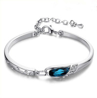 Wholesale Diamond Hand Bracelets - Luxury Sapphire Bracelets Jewelry New Style Charms Blue Austria Diamond Bangle Bracelet 925 Sterling Silver Glass Shoes Hand Jewelry 200pcs