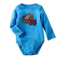 Futebol americano Bebés Meninos Bodysuits Moda Azul roupas de Bebê atacado  mix cor e tamanho 120 pçs   lote trajes macacão de bebê 98a3342ffbfe5