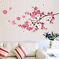 Wholesale Poster New Order - New!!!!Free Shipping Cherry Blossom Wall Poster Waterproof Background Sticker for Bedroom Cafe Home Decor papel de parede E5M1 order<$18no t
