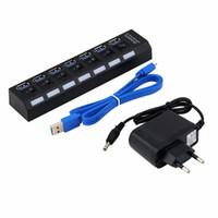 yüksek güçlü usb hub ac toptan satış-Yüksek Hızlı 7 Port USB 3.0 Hub ile On / Off Anahtarı + AB / ABD AC Güç Adaptörü PC Laptop için Yüksek Kalite