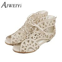 Atacado- Big Size 34-43 Fashion Cutouts Lace Up Mulheres Sandálias Open Toe Low Wedges Yellow Black White Summer Shoes