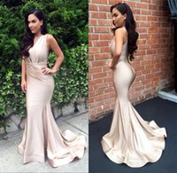 Wholesale Charmeuse Red Evening Dress - 2017 Glamours Sexy Sheath Mermaid Dresses Evening Wear V-neck Charmeuse vestidos Elegant Long Celebrity Prom Party Gowns