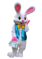 traje de fantasia traje de mascote venda por atacado-2018 Venda direta de fábrica PROFISSIONAL EASTER BUNNY MASCOT COSTUME Bugs Rabbit Hare Adult Fancy Dress Cartoon Suit