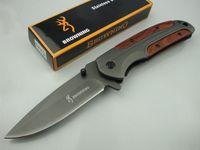 Wholesale Wood Model Tools - 2 Models Browning DA43 Tactical Folding Knife 3Cr13 55HRC Clip Outdoor Camping Hunting Survival Pocket EDC Tools Xmas Gift Original Box