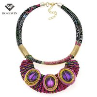 Wholesale Handmade Wire Wrapped Jewelry - Bohemia Handmade Choker fashion Jewelry Fashion Leather Rope Metal Wire Wrap Crystal Bead Statement Necklace Collier Femme CE4144