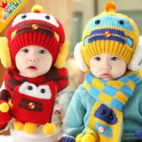 Wholesale Wholesale Crochet Car Hats - 10Set Baby Boys Girls Car Robot Style Hats Scarf 2 Piece Sets Children Winter Warmer Crochet Knitted Beanie Cap Scarf Suits Kids Accessories