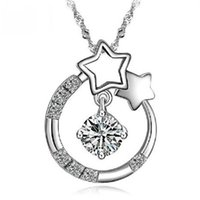 Wholesale D Pendants - 925 sterling silver jewelry wholesale pendant necklace Korean Wishing Star hearts from the stars you have your pendant