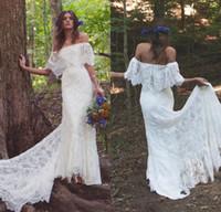 Wholesale romantic off shoulder wedding dresses for sale - 2017 Boho Off Shoulder Sheath Scalloped Lace Wedding Dresses With Long Train Romantic Beach Bohemian Bridal Gowns
