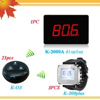 2017 New Model Pager Sistema de chamada sem fio 25PCS Caller Call Button + 1PC LED Diaplay Receiver + 3PC Wrist Watch Pager