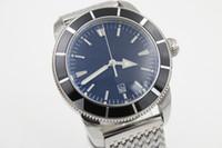 bracelets de montre en plastique achat en gros de-Édition limitéeBreilt Auto montre-bracelet Hommes Cadran Noir Céramique Case Bande Inoxydable Superocean Montre livraison gratuite HK
