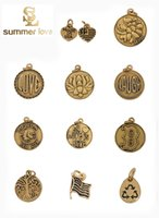 Wholesale Diy Letters Gold - Initial Letter Charm Tree of Life Mom Love American Flag Charms Pendants for Jewelry Making Silver Plated Gold Plated DIY Alex and Ani