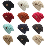 Wholesale Christmas Hat Adult - 2017 New men women hat CC Trendy Warm Oversized Chunky Soft Oversized Cable Knit Slouchy Beanie 12 color