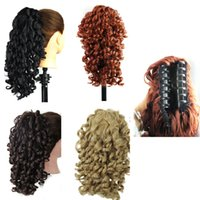 Wholesale Synthetic Wavy Hair - Synthetic hair Ponytail Claw Ponytails Curly wavy Hair pieces 19inch 165g pony tails hair extensions Fashiion style
