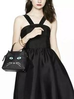 AE875 Cute Sweet solid cat patchwork in vera pelle Donna lady girl borsa messenger crossbody shell k
