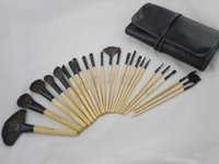 Wholesale rolling makeup case resale online - 24 Makeup Brushes Set Professional BB Brand Wood Color Make Up Brush Kits Cosmetics Tools with Roll Up Case