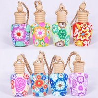 Wholesale Clay Perfume Bottles - 15 ml Car hang decoration Polymer clay essence oil Perfume bottle Hang rope empty bottle DHL 100pcs