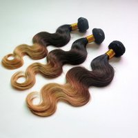 Wholesale Three Bundles Hair - Virgin Indian Hair Human Hair Weaves Body Wave Bundles Ombre Three Tone Brazilian Peruvian Malaysian Mongolian Human Hair Extensions