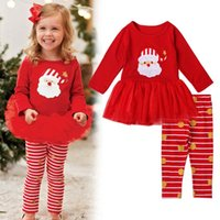 Wholesale Tight Dress Outfits - Christmas Dress Girls Outfits Kids Clothing T-shirt Dresses stripe leggings Tights Children Sets Girls Dress Suits kids Clothing Sets A1167