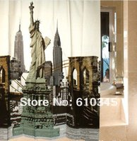 Wholesale New York Shower - Free Shipping 180cmx180cm EVA shower curtain Waterproof Mouldproof bathroom curtain with Hooks New York the Statue of Liberty