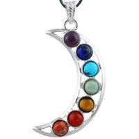 Wholesale Silicone Slide Letters - BLE SunFlower Moon 7 Chakra Stone Natural Quartz Gemstones Beads Pendant Healing Necklace Natural crystal Quartz Energy necklace