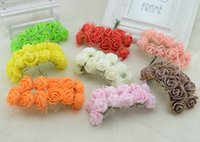 Wholesale- 2 CM Diametro (12 pz / lotto) testa Multicolor PE Rose Foam Mini fiori di seta artificiale Bouquet di colore solido / decorazione di cerimonia nuziale
