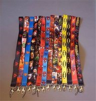 Wholesale marvel comics spider - 200pcs Marvel DC Comics Batman Spider Man Lanyard Neck Straps ID Pass Key Holder Cartoon Neck Straps For Mobile Phone ID Card