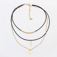 Wholesale women's rhinestone choker for sale - Dan S New Fashion Retro Geometric Star Pendant Collar Double Chains Leather Simple Choker Necklace Gift For Women Girl