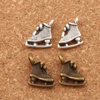 Wholesale Ice Skating Beads - Dots Ice Skating Grid Shoes Charm Beads Antique Silver Bronze Pendants Jewelry DIY 200pcs lot L568