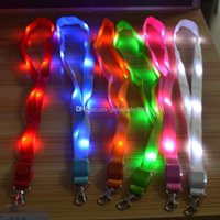Wholesale Outdoor Nylon Cord - Fashion Nylon Multi-colors Led Flashing Lanyard ID Card Pendant Hanging Cord For Party,Shows and Outdoor Activities Led Lighted toys C2915
