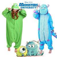 Wholesale Mike Wazowski Costume Adults - Wholesale-2016 New Monster University Mike Wazowski Sulley Flannel Pajamas Anime Cosplay Costume Adult Onesies Sleepwear Unisex Onesies