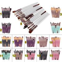 professionelle make-up pinsel umsatz großhandel-Günstigste 15 stücke Kosmetik Make-Up Pinsel Sets Puder Foundation Lidschatten Pinsel Kits Make-Up Pinsel Professionelle Make-Up Beauty Tools Auf Verkauf