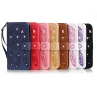 Wholesale Iphone Leather Strap - Bling Diamond Dreamcatcher Wallet Leather For IPhone 7 7g Iphone7 I7 4.7 inch Pouch Flip Cover Stand Card Slot Case Strap