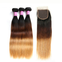 Full Head Three Tone Peruvian Straight Ombre Hair With Silk Closure 3 Bundle Human Hair Weave With Closures Pieces 1B / 4/27