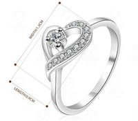 Wholesale Vintage Sterling Silver Heart Ring - 925 Sterling Silver Rings Vintage Heart Clear Zircon Rings Size 7,8 Women's Rings Jewelry