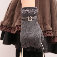 Wholesale Touch Screen Glove Cotton - touch screen women cashmere gloves winter warm lace mittens outdoor riding soft fashion cotton gloves leather