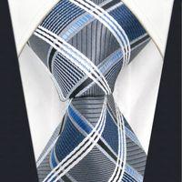 geometrische marken krawatten großhandel-A17 Silber Grau Blau Kariert Geometrische Seide Mode krawatten für männer Hochzeit Brand New Dress Mens Krawatte männlich
