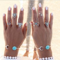 Wholesale Vintage Turquoise Gold Ring - Bohemian Style 6pcs set Vintage Anti Silver Color Rings turquoise Elephant Cross Moon Rings Set for women ZL